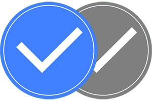 Facebook Seite verifizieren - blauer Haken / grauer Haken